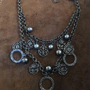 1928 Gunmetal charm adjustable necklace